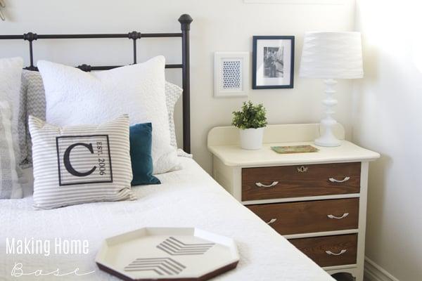 White and wood nightstand