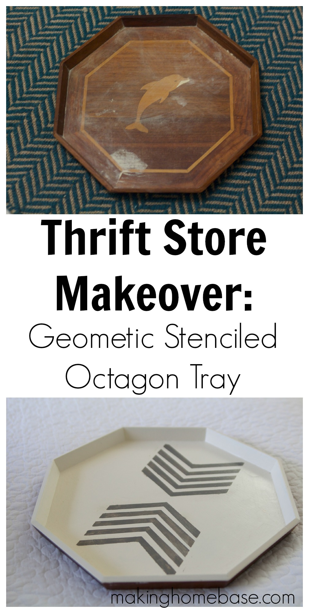 geometric stenciled octagon tray