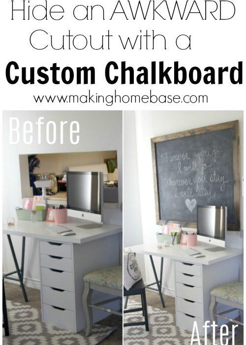 Custom Chalkboard to Hide an Awkward Cutout