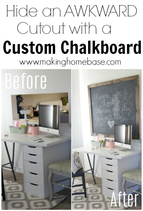 hide an awkward cutout with a custom chalkboard