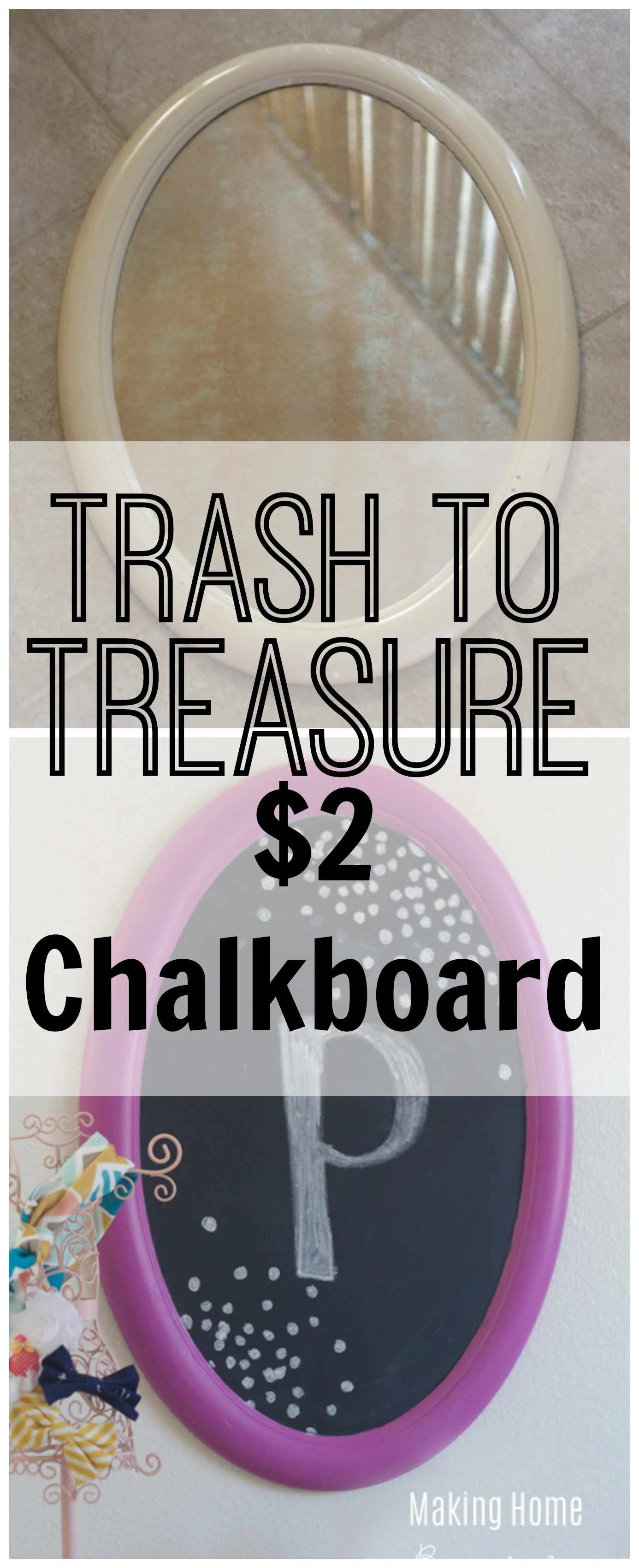 trash to treasure chalkboard for a girls room