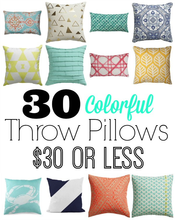 30 colorful throw pillows for 30 dollars or less