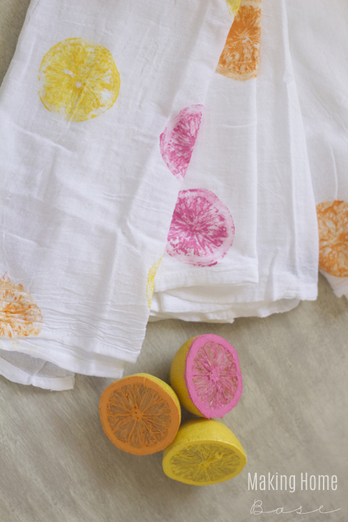 Citrus Painted Tea Towels - Making Home Base