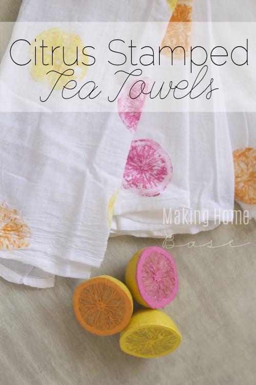 Summer Citrus Stamped Tea Towels Tutorial