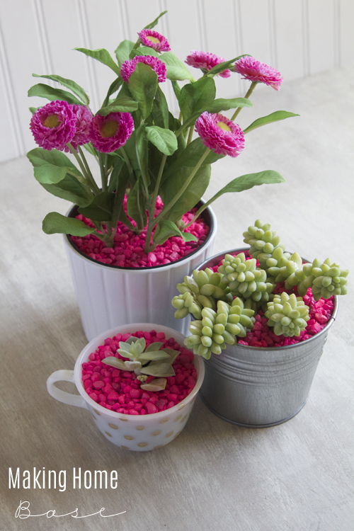 pink pebble planter