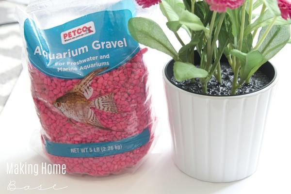 pink pebbled planter