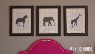 DIY Wall Art Animal Prints with Polka Dot Mats