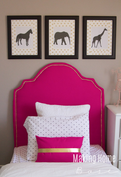 Kids Room Wall Art Idea - Framed Animal Silhouettes with a Girls Room