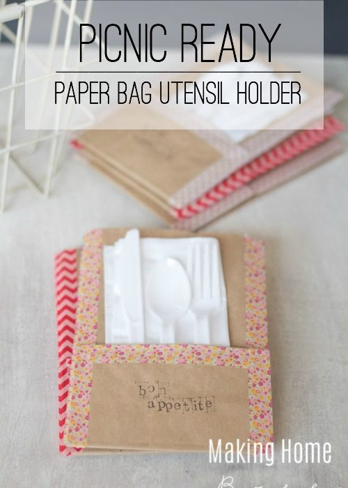 Picnic Ready Paper Bag Utensil Holders