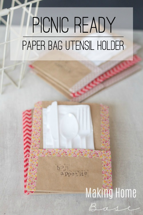 Picnic Ready Paper Bag Utensil Holder tutorial via makinghomebase.com