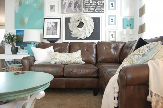 Bon Decorating, Living With, And Loving, A Brown Sofa