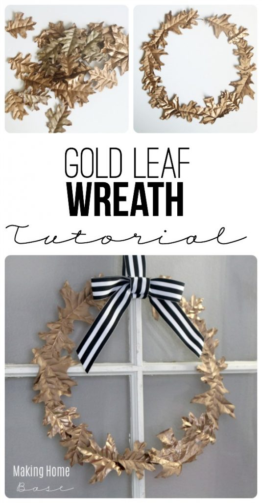 This Fall Wreath is made with faux leaves and a wire hanger. Such an easy DIY project for fall