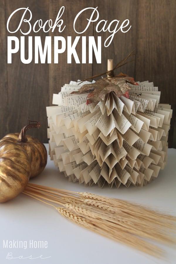 a book page pumpkin