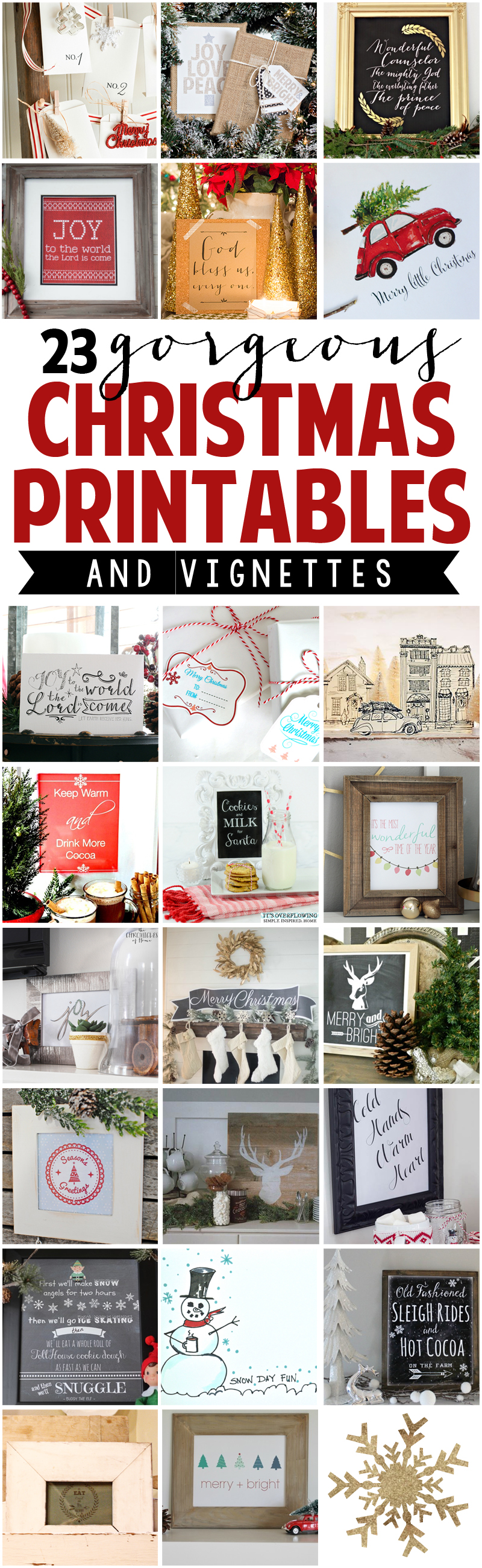23 Gorgeous Christmas Printables with Display Ideas