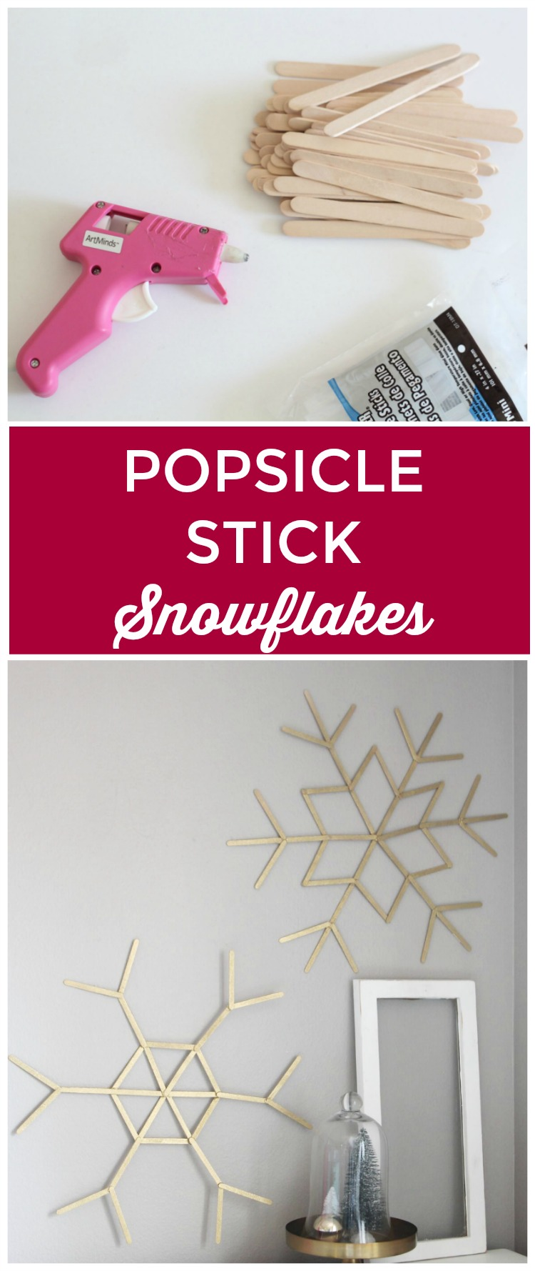 Use popsicle sticks for the ultimate snowflake craft. Huge snowflakes made with popscicle sticks and hot glue