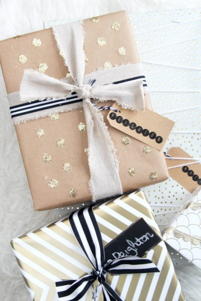 Holiday Gift Wrap Ideas: Gold Confetti Gift Wrap
