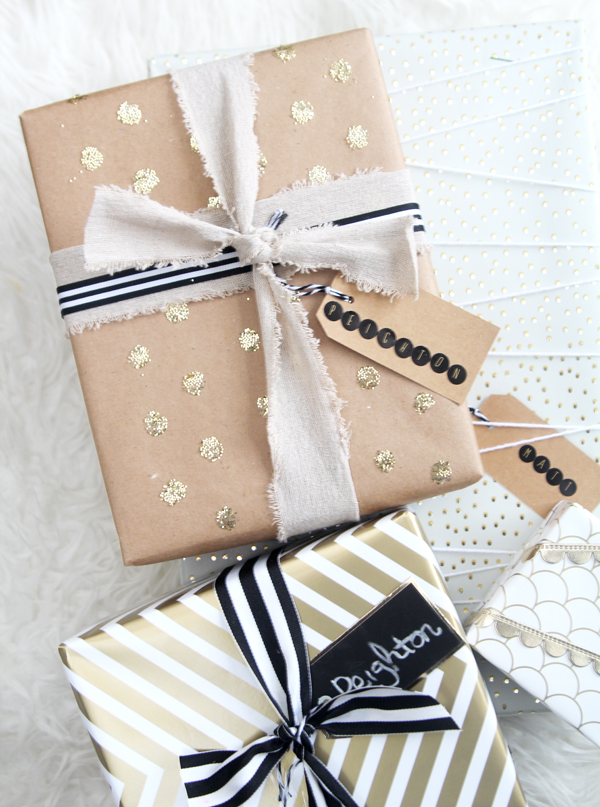 gold confetti dot gift wrap