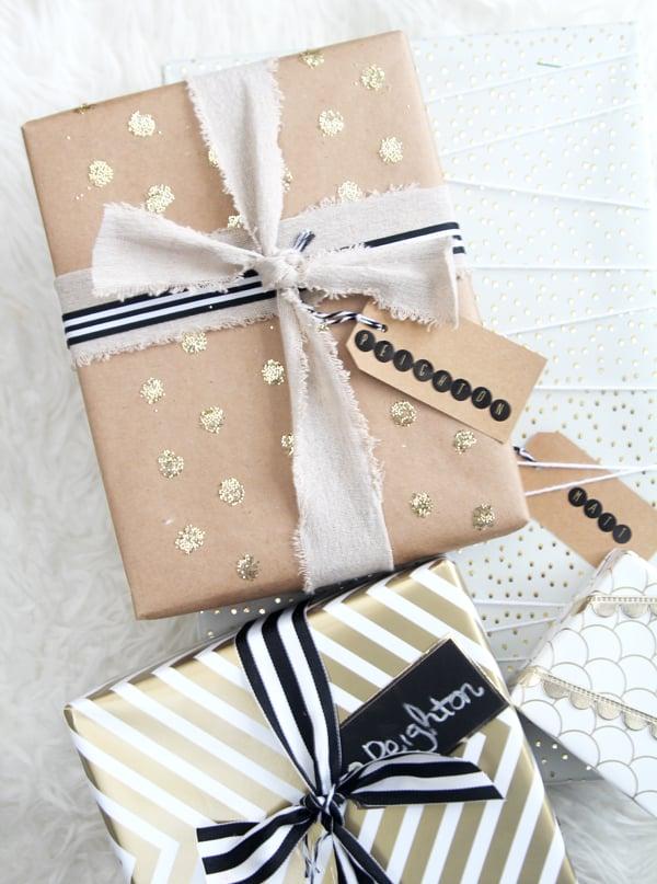 gold confetti dot gift wrap