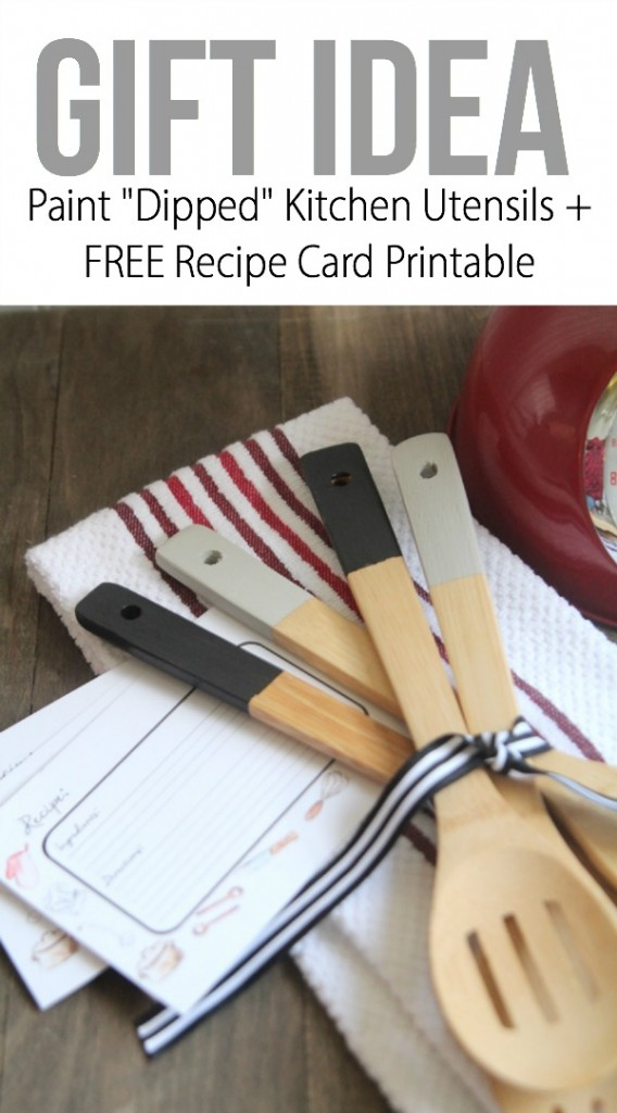 paint dipped kitchen utensils and free recipe cards