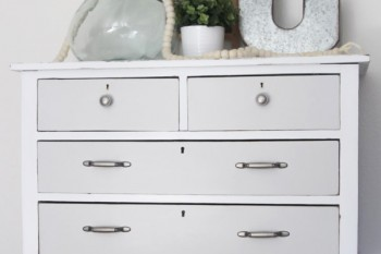 Painted Furniture Ideas - try a two toned paint scheme like this gray and white dresser. You must see the before!