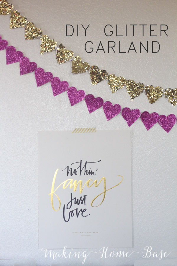 DIY glitter heart garland