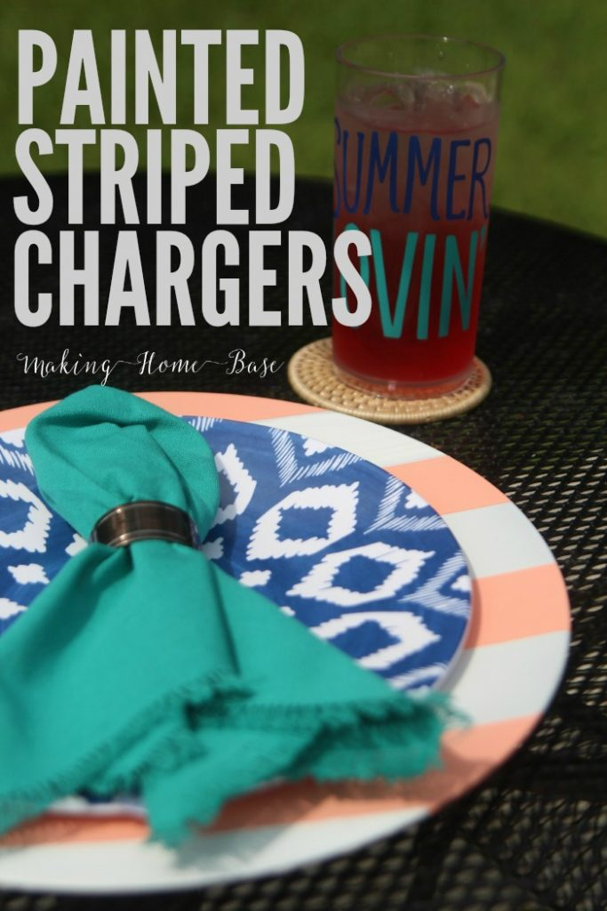Painted Striped Chargers