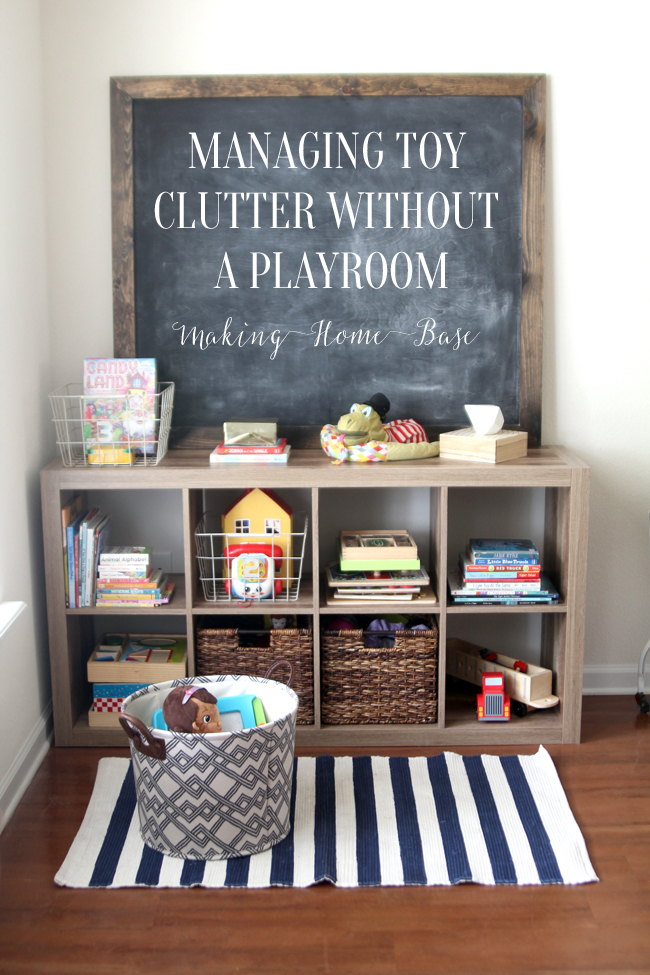 Living Room Organization how to manage toy organization when you don't have a playroom