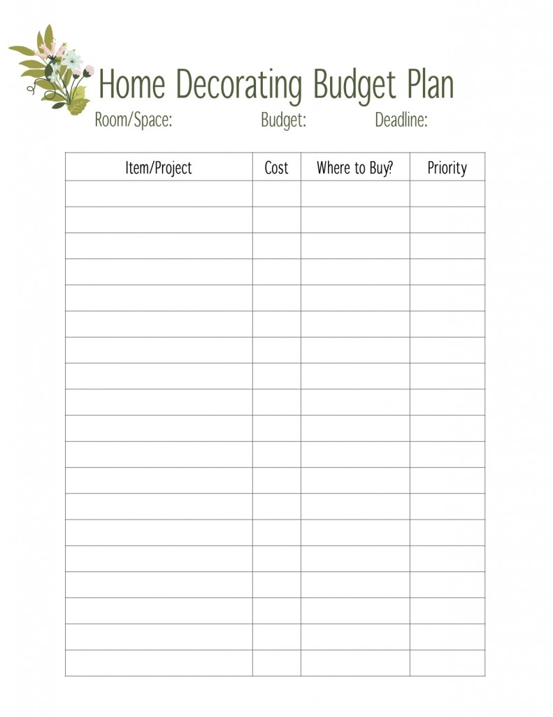 home decorating budget page