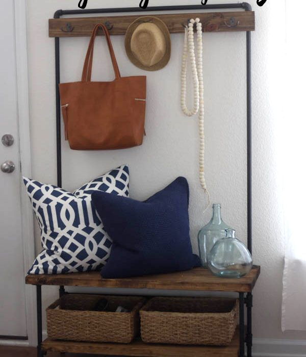 Wood and Pipe Entryway Stand – West Elm Knock Off