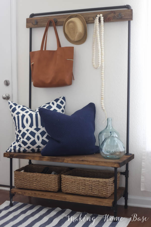 Diy Entryway Organizer Wood And Pipe Entryway Stand