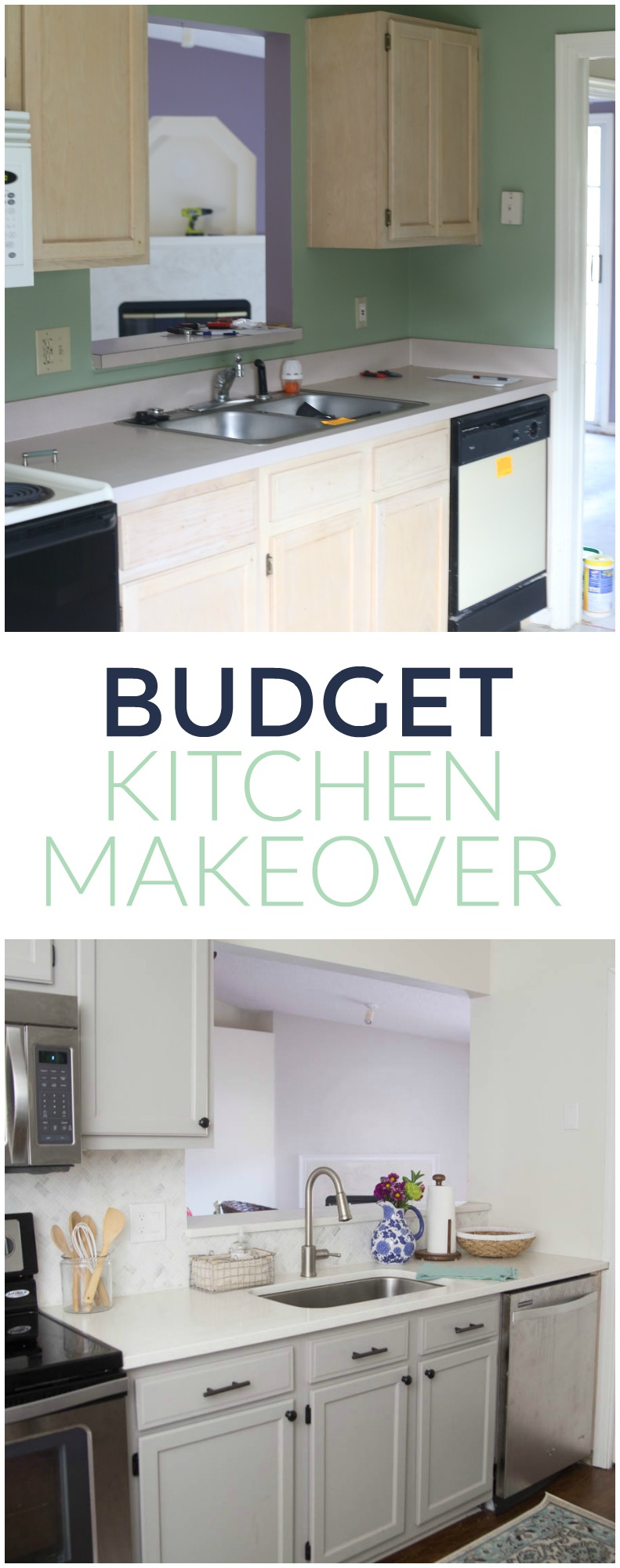 Budget Friendly Kitchen Makeover with painted cabinets. Love this method of painting cabinets!