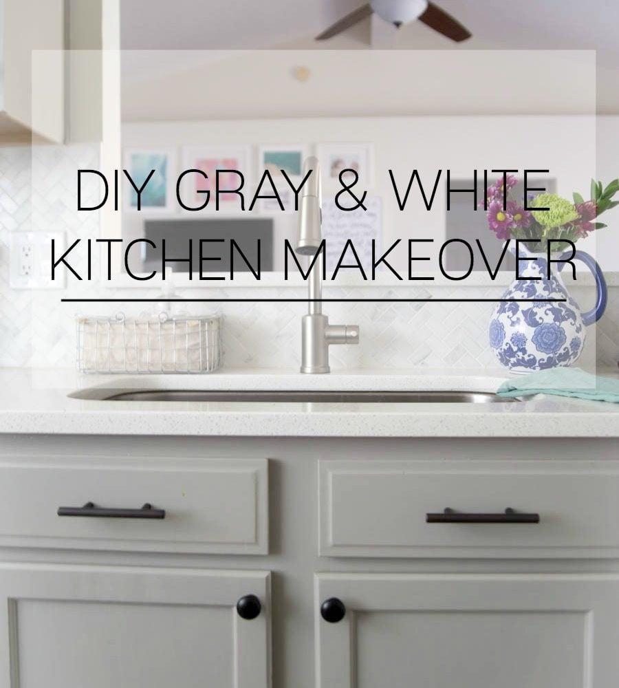 Gray and White Kitchen Kitchen Makeover