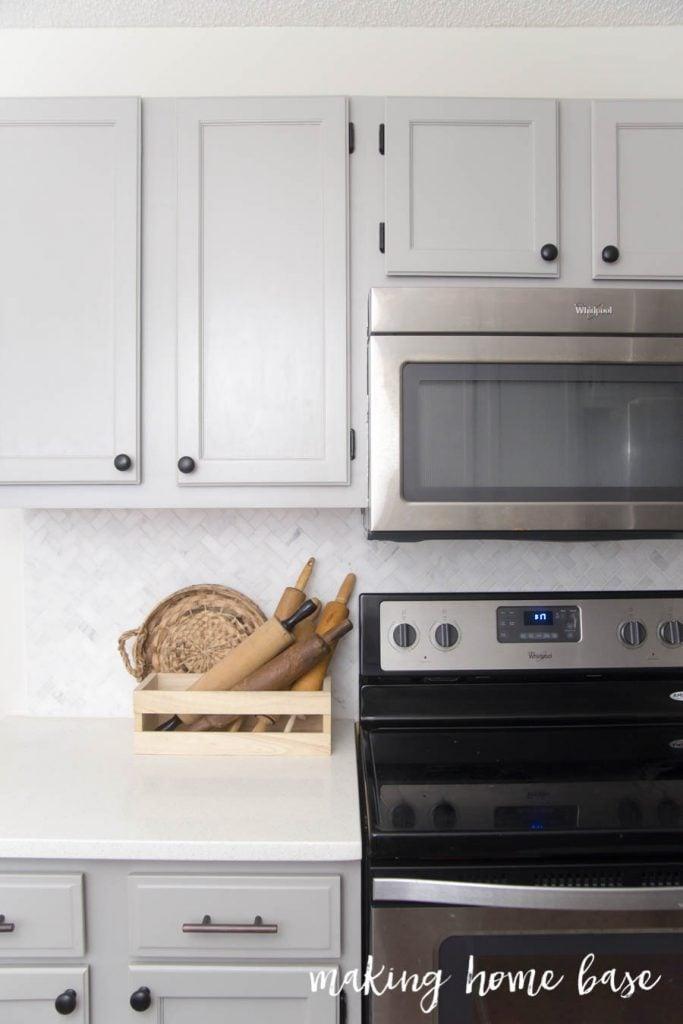 Gray and White Kitchen Kitchen Makeover - Making Home Base