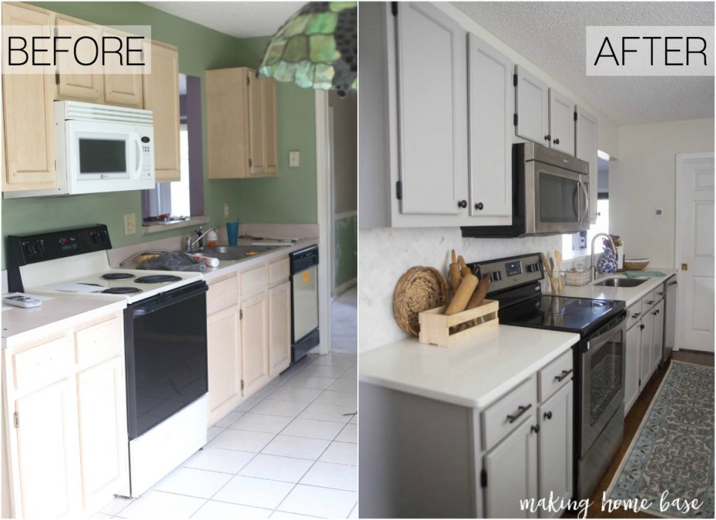 before and after gray kitchen