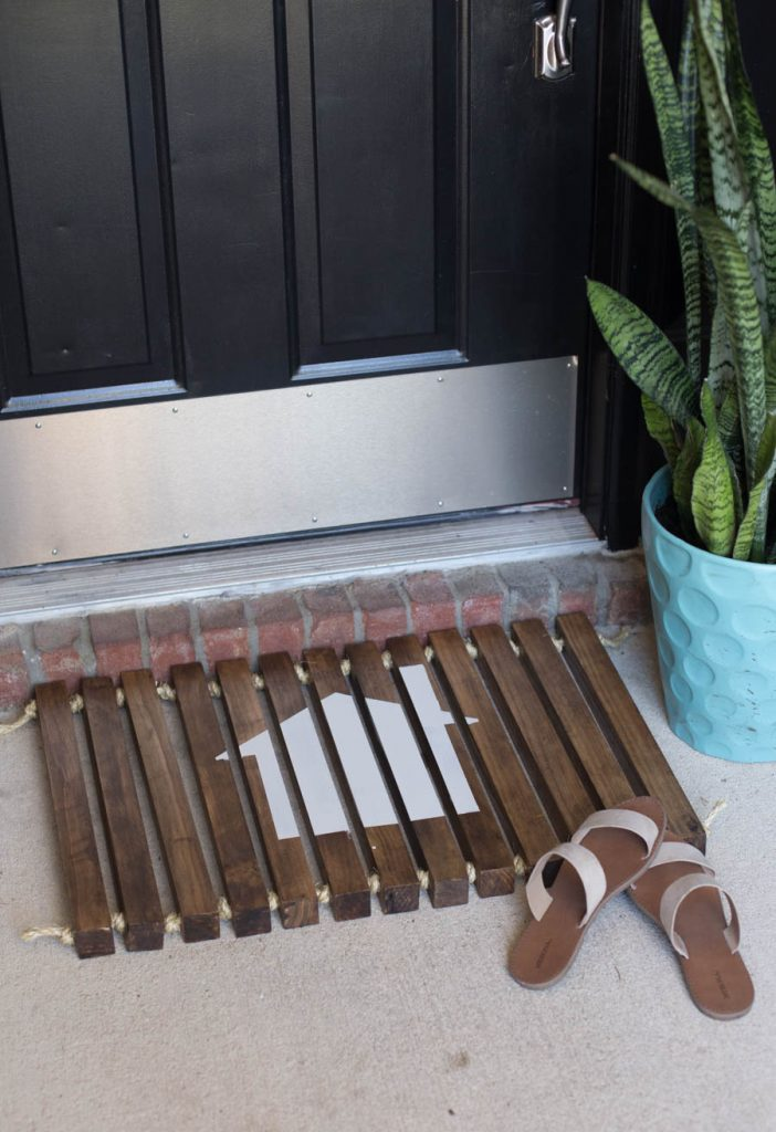 DIY Wooden Stenciled Doormat