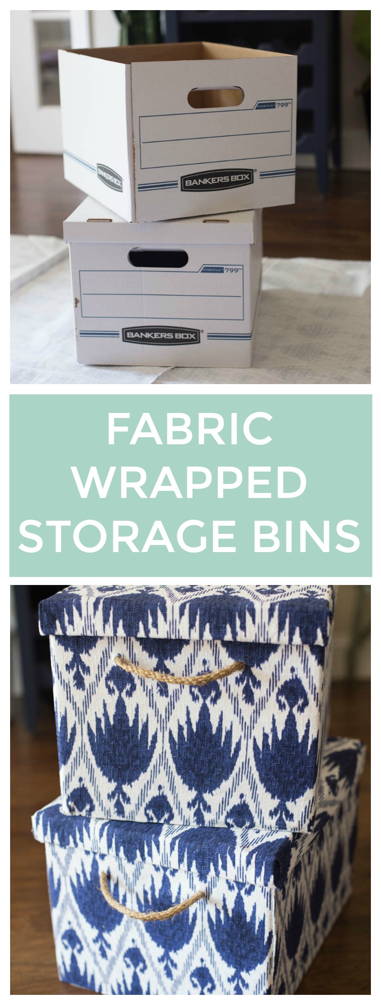 Make Stylish Storage Bins By Covering Bankers Boxes with Fabric & Fabric Covered Storage Boxes - Stylish Storage
