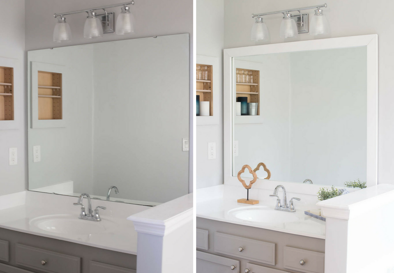 frame existing bathroom mirror how to frame a bathroom mirror easy diy project 18379