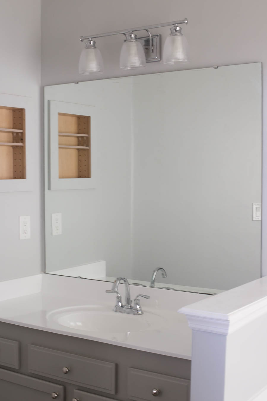 How to frame bathroom mirrors - How To Frame A Bathroom Mirror In An Afternoon For Less Than 40