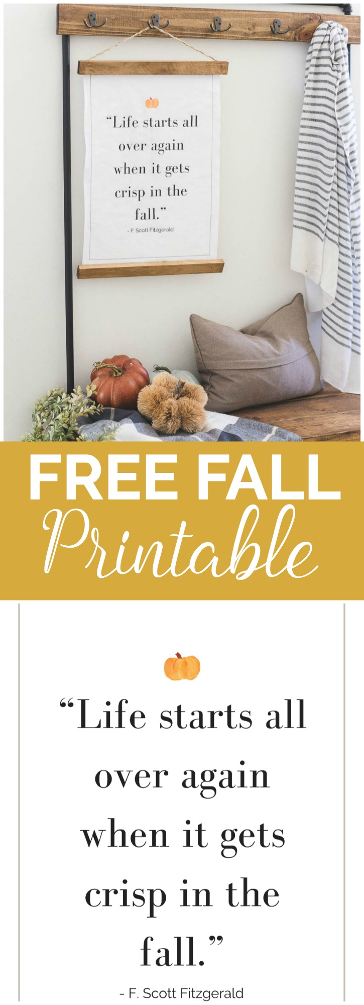 """I love this fall quote! It's even better on this large hanging sign. It's a free printable, take it to Staples and print for $2! Awesome!"