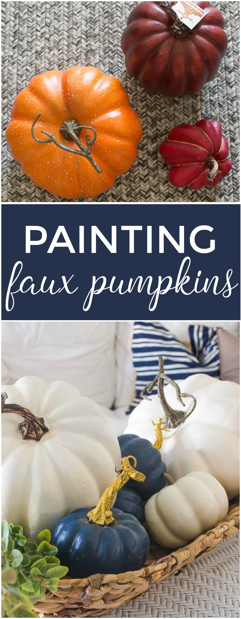 """If you love pretty white pumpkins, painting ugly faux pumpkins will save you a bundle on your fall decor!"