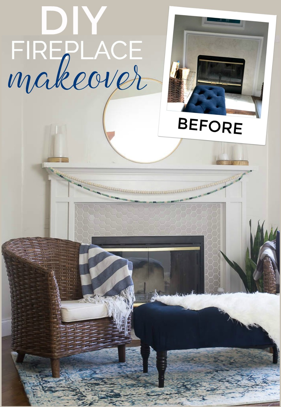 DIY Fireplace Makeover - 90s fireplace gets new life with this drab to fab makeover