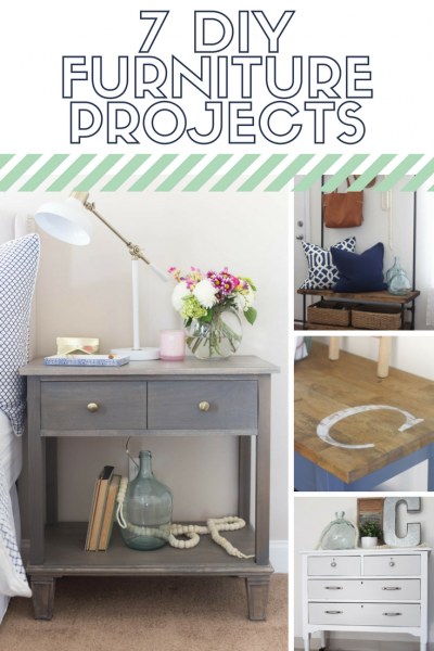 7 DIY furniture projects that will inspire you. I'm obsessed with the wood and pipe entryway organizer!