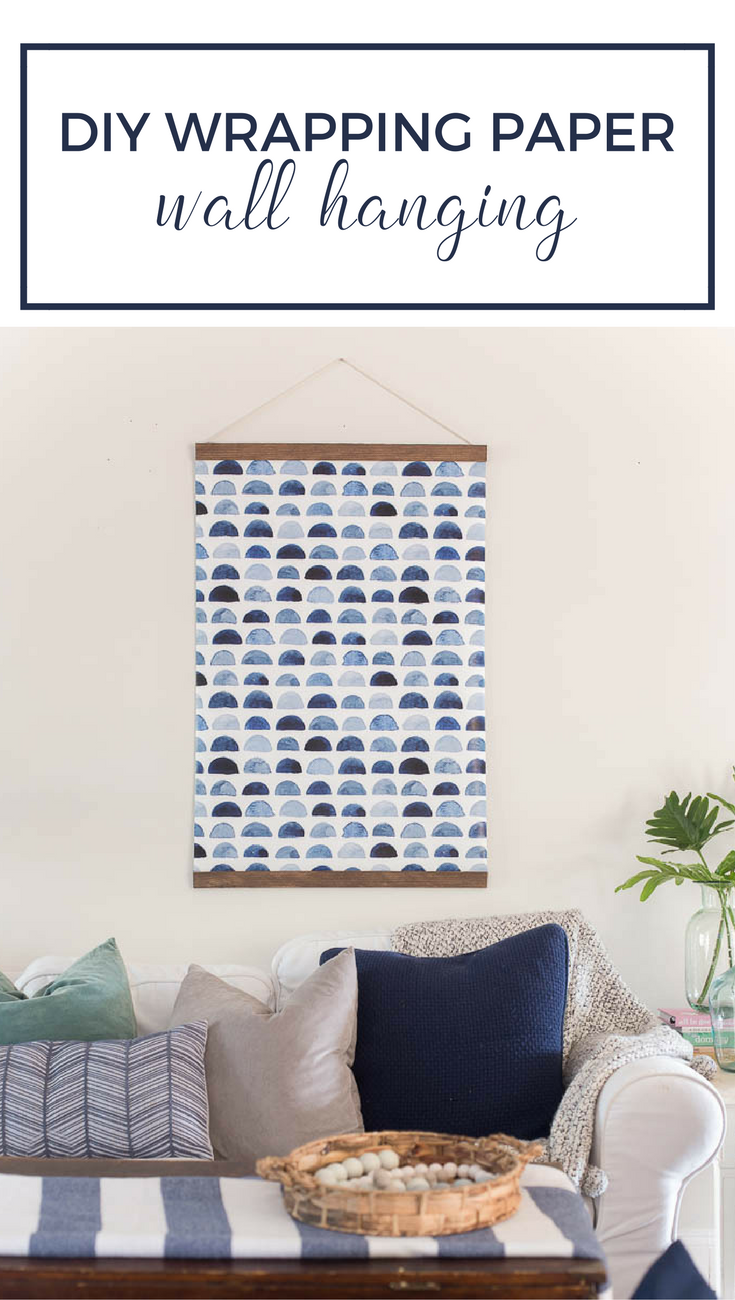 DIY pull down wall hanging with wrapping paper