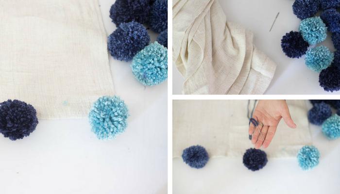 This blanket is so pretty! DIY Pom Pom Throw Blanket Tutorial