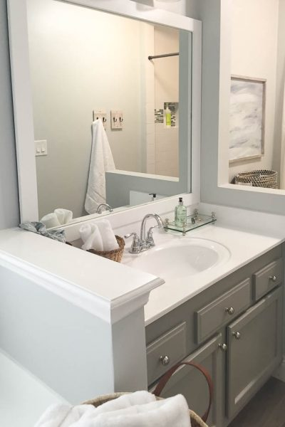 If you can't replace your vanity, refinishing the counters is the next best thing. Budget friendly bathroom update.