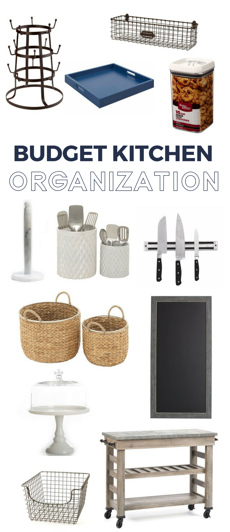 Budget friendly kitchen organization ideas. Pretty tools that wrangle kitchen items while keeping your space beautiful.