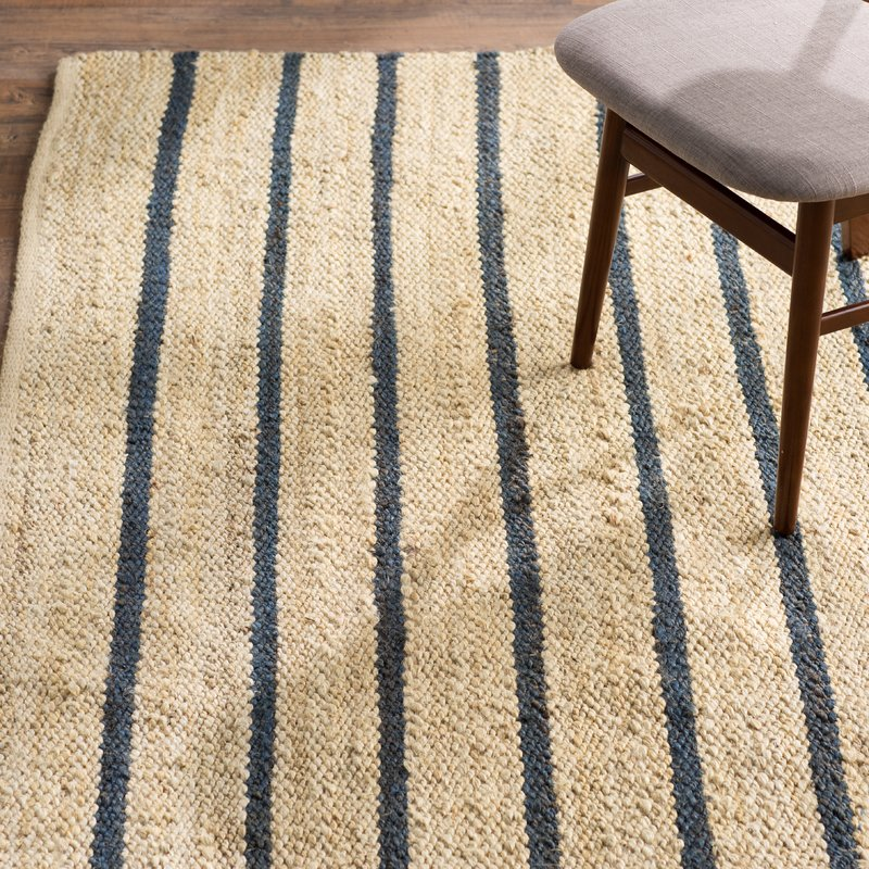Coastal blue striped woven rug - perfect for a beach house.