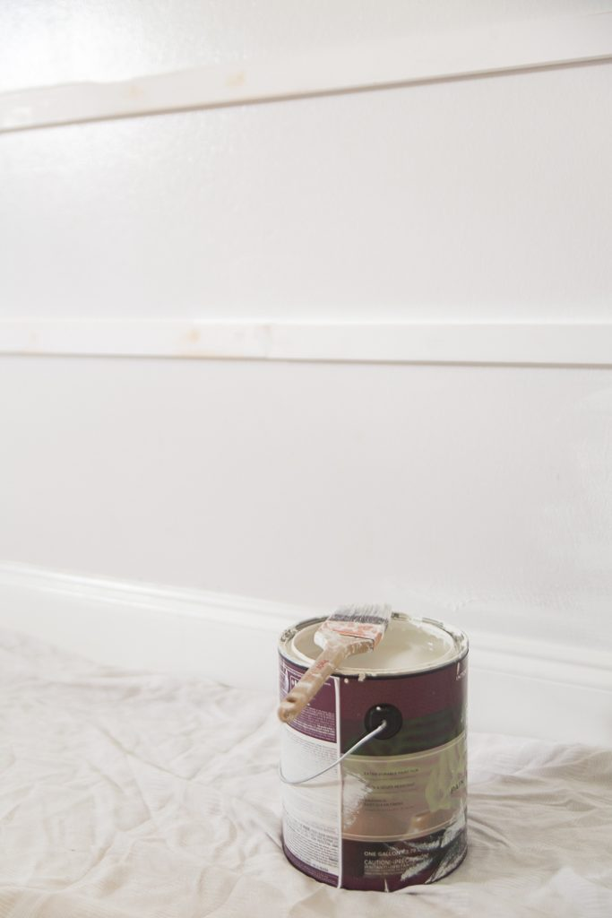 Painting accent wall with Benjamin Moore Chantilly Lace