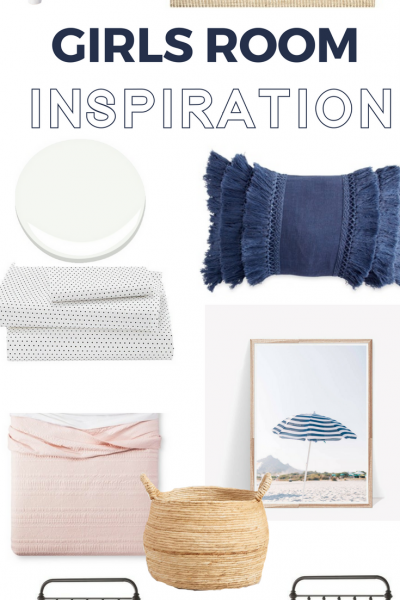 Little girls shared room inspiration and design board. Calm, beachy, feminine space