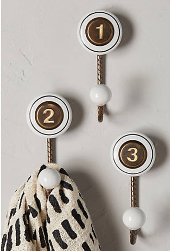 Wall hooks from Anthropologie. Great for organizing your entryway
